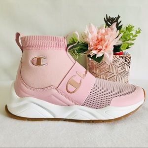 Champion Rally Women's High Top Slip on Pink Sneakers